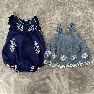 Old Navy Cotton Embroidered Romper & Dress 0-3M